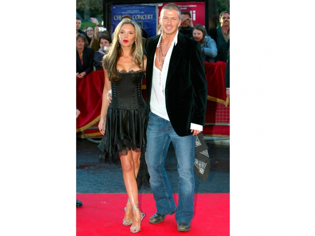 David and Victoria Beckham working the red carpet back in 2004