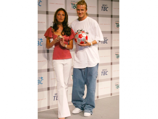 david beckham and victoria in flares and baggy skater jeans