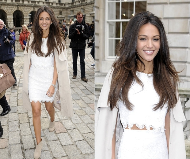 michelle keegan in white co ord at fashion week show