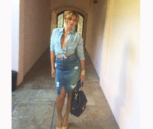 Beyonce in a denim pencil skirt and matching shirt on intagram