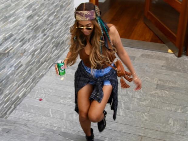Beyoncé wearing a boho outfit at Coachella