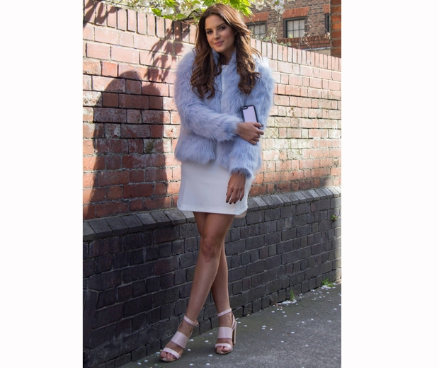 made in chelsea's binky felstead in grey faux fur jacket and white dress