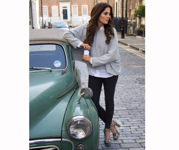 made in chelsea binky felstead in grey jumper jeans and a white shirt