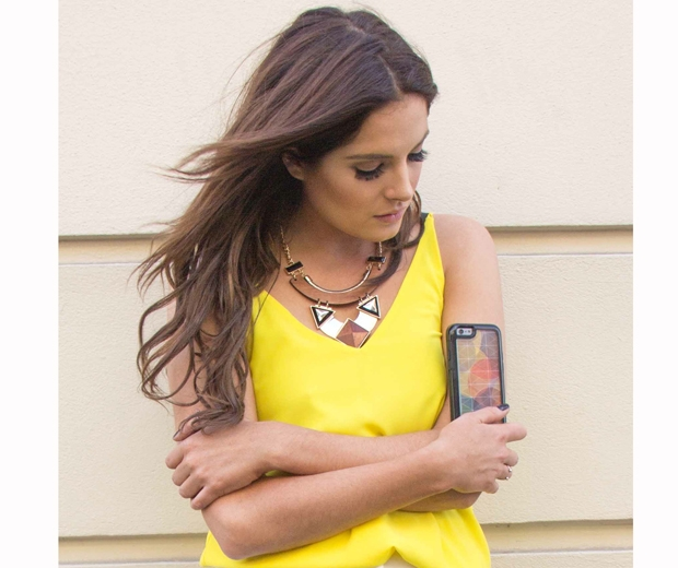 made in chelsea's binky felstead in a yellow top and statement necklace