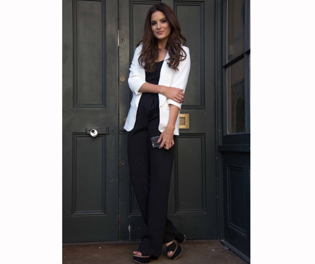 made in chelsea's binky felstead in white blazer and trousers