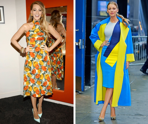 blake lively in bright colour block dress and coat and tropical dress