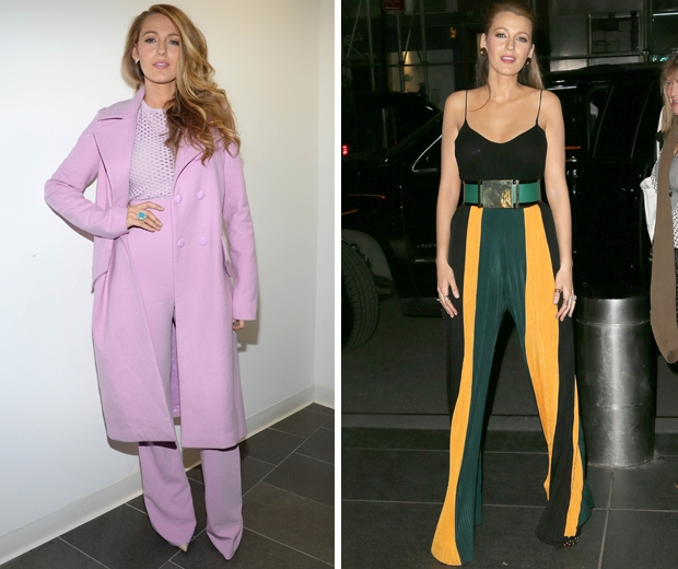blake lively in pink suit and wide leg striped yellow and green trousers