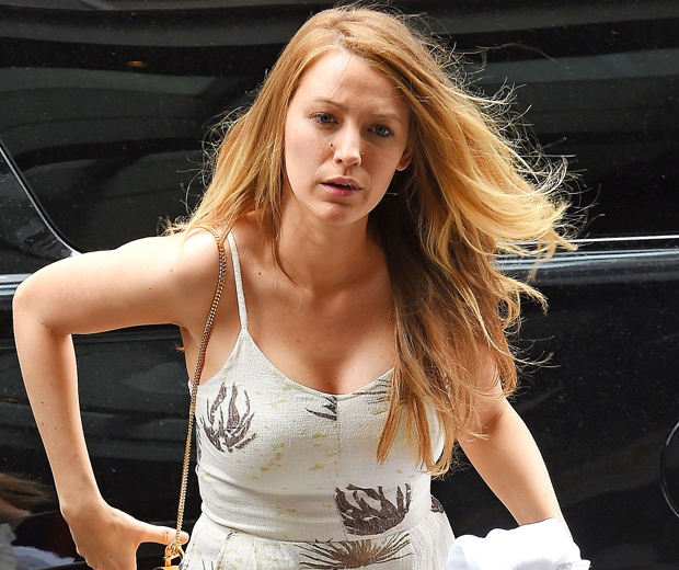 Blake Lively in white summer dress and no makeup