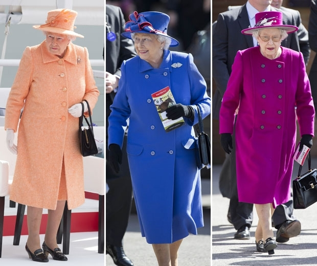 queen elizabeth in colour block coats and hats