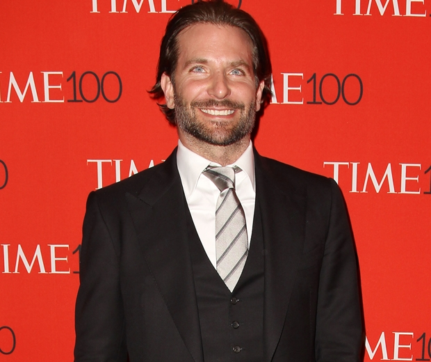 bradley cooper at the time 100 gala in black suit and tie