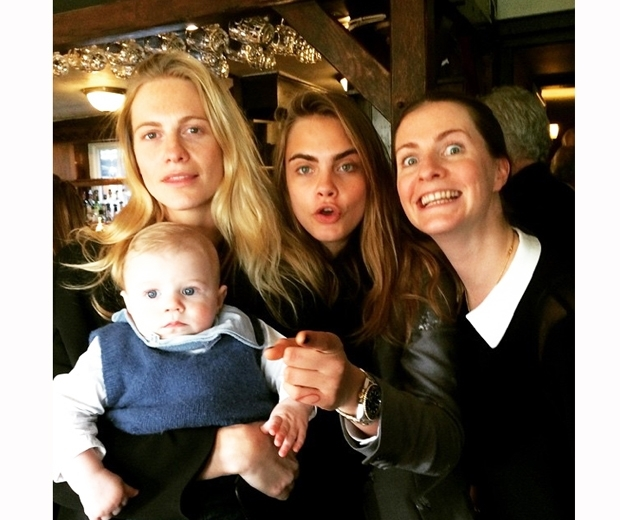 Cara Delevingne with Poppy and Chloe's ten-month-old baby Atticus