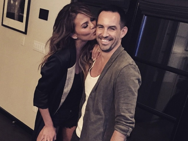 Chrissy Teigen poses with make-up artist Beau Nelson for Instagram photo