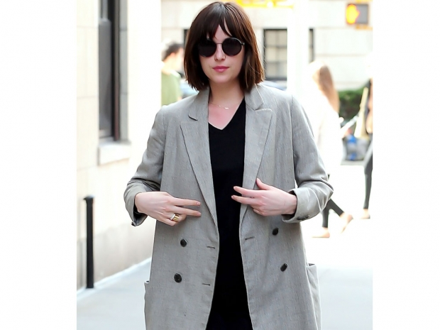 Dakota Johnson sports a tailored spring jacket