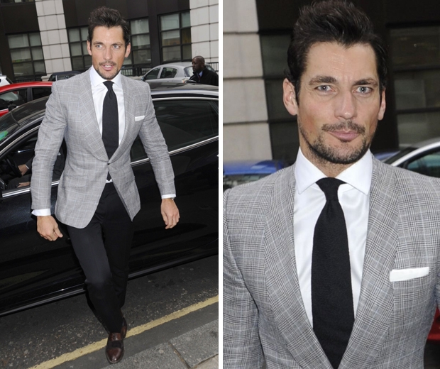 david gandy in a grey blazer and dark check trousers at ldny catwalk show