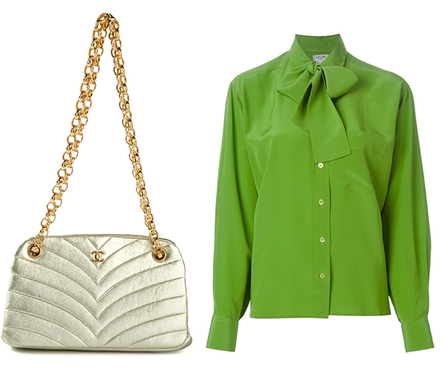 This Chanel mini bag and Celine blouse are top of our vintage shopping list