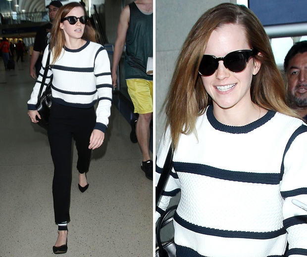 emma watson at airport in cropped Tibi knit and smart trousers