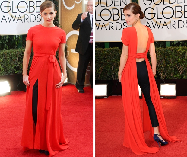 emma watson at  2014 Golden Globes in red dior dress over trousers