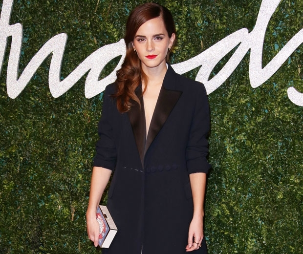 emma watson in oversized dior blazer at british fashion awards
