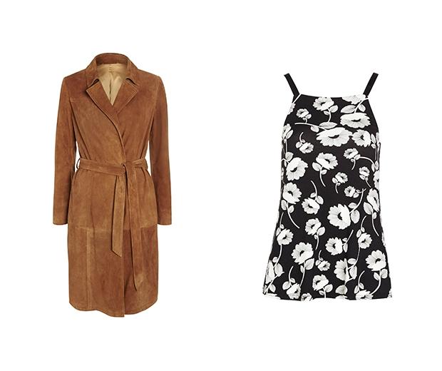 F&F Suede coat £150 & F&F Floral Cami £14