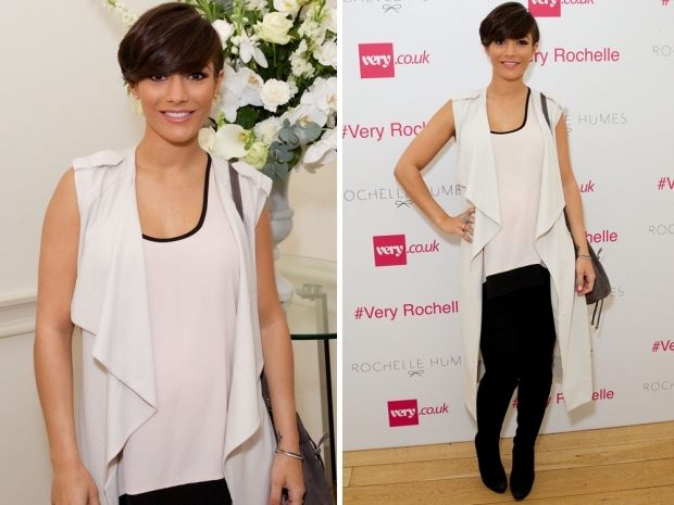 Frankie Bridge working a sleeveless waterfall jacket at the Very SS15 event