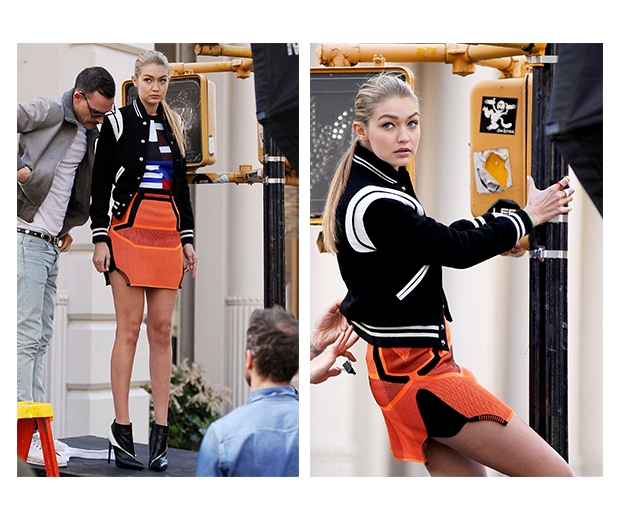 Gigi posing up a storm on the set of her latest Maybelline campaign
