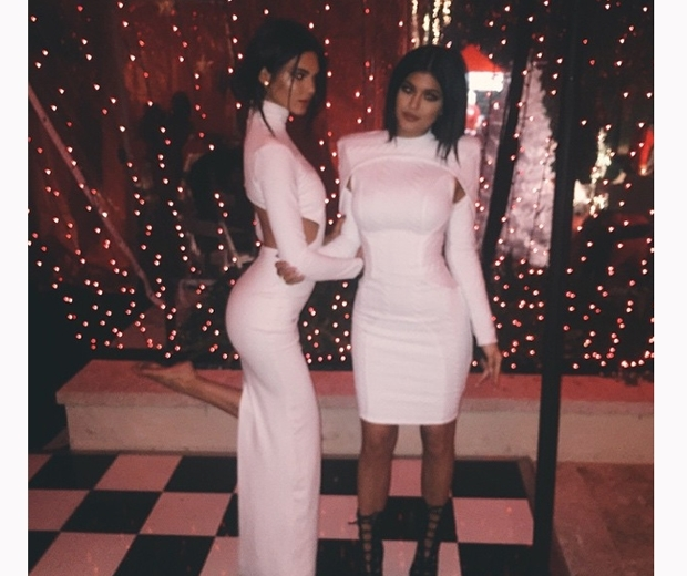 kendall and kylie jenner in white dresses christmas