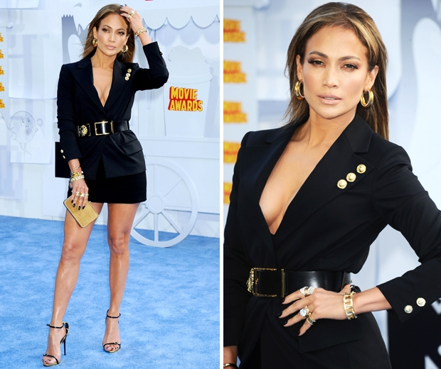 J Lo looked amazing in her black Versace tuxedo dress at the MTV Movie Awards