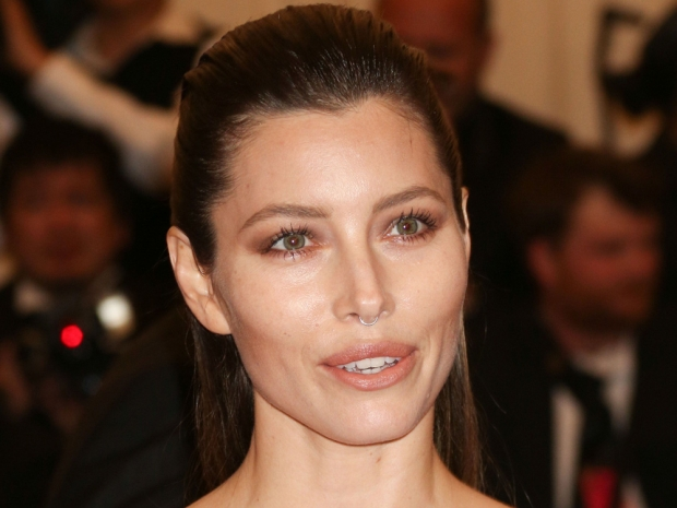 Jessica Biel with a fake septum piercing at the Met Gala 2013