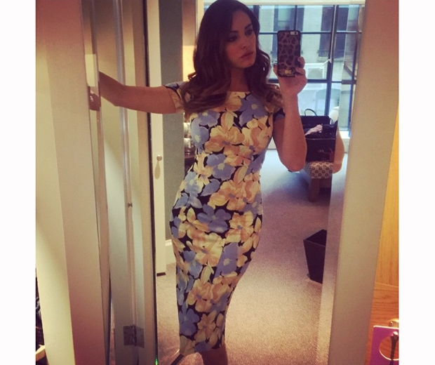 kelly brook in blue and yellow floral bodycon dress