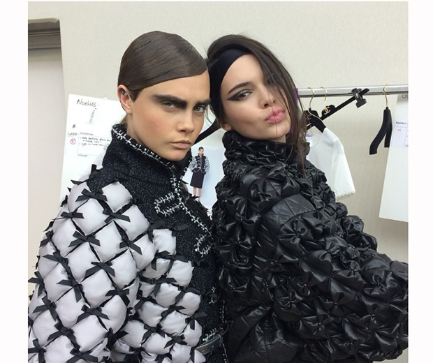 Kendall Jenner and Cara Delevingne backstage at Chanel AW15