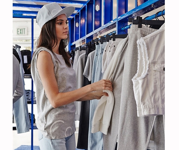 kendall jenner browsing rails of Calvin Klein Jeans