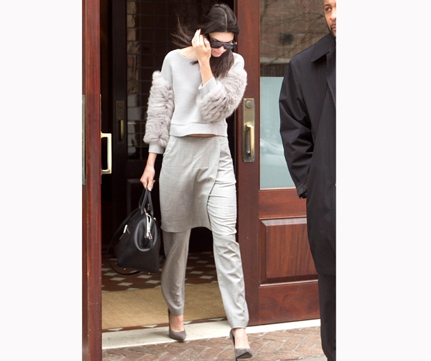 Kendall Jenner steps out in a grey trouser skirt and a furry top