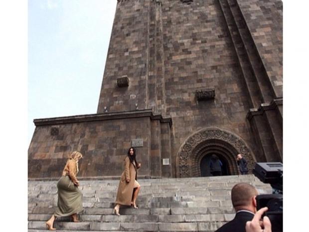 Kim Kardashian in camel dress in Armenia