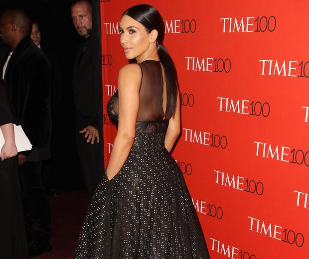 kim kardashian shows back of Sophie Theallet dress at the time 100 gala