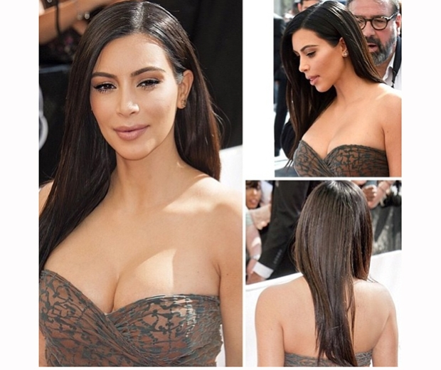 kim kardashian with straight hair at the kardashian beauty hair launch in paris