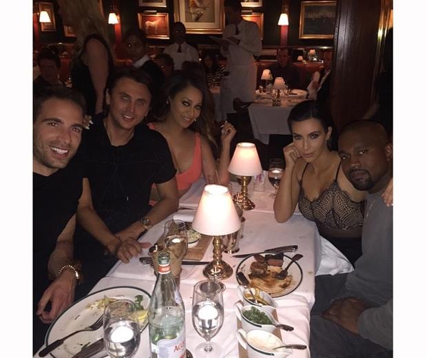Kim Kardashian, Kanye West, Jonathan Cheban and Ralph Lauren at dinner in NY