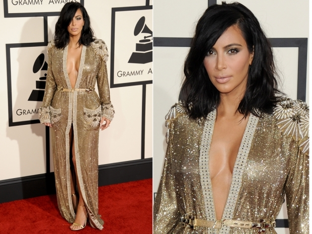 Kim Kardashian in her dazzling Jean Paul Gaultier dress at the 2015 Grammys