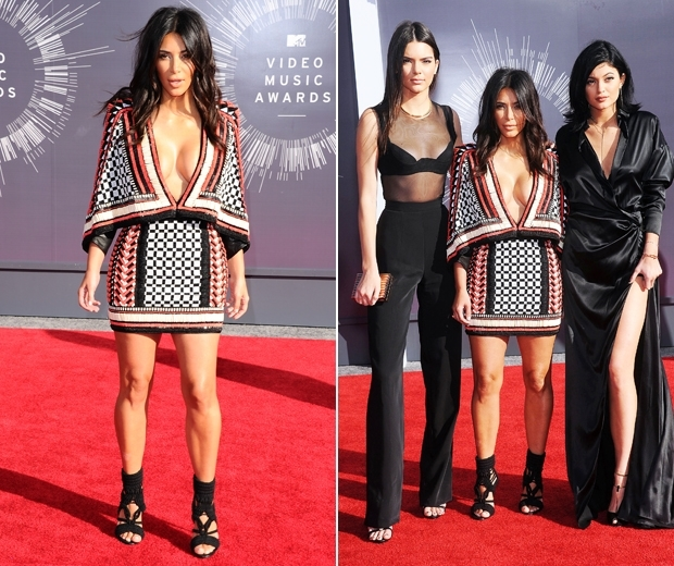 kylie jenner and kendall with kim kardashians at the vmas