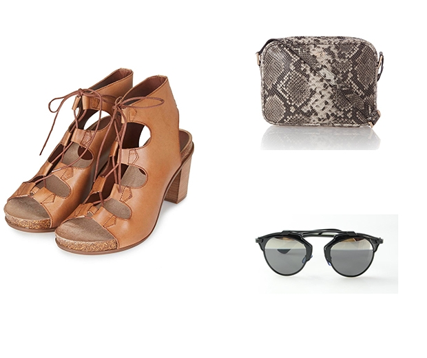 Topshop shoes, Biba bag, My Milly Moo sunglasses