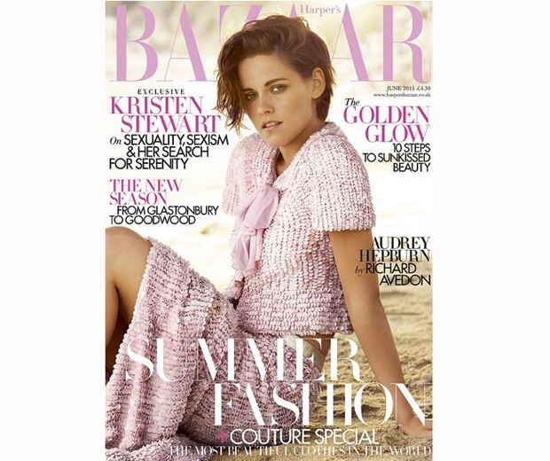 Kristen Stewart works a pretty Chanel two-piece on the cover of Harper's Bazaar