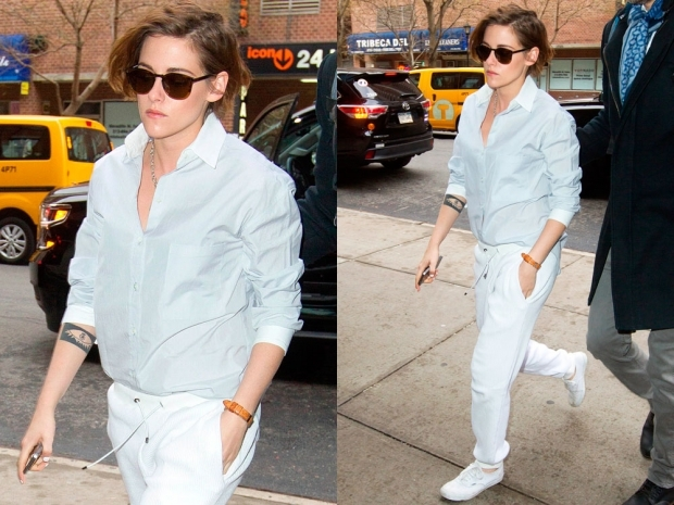 kristen stewart in white joggers and a blue shirt
