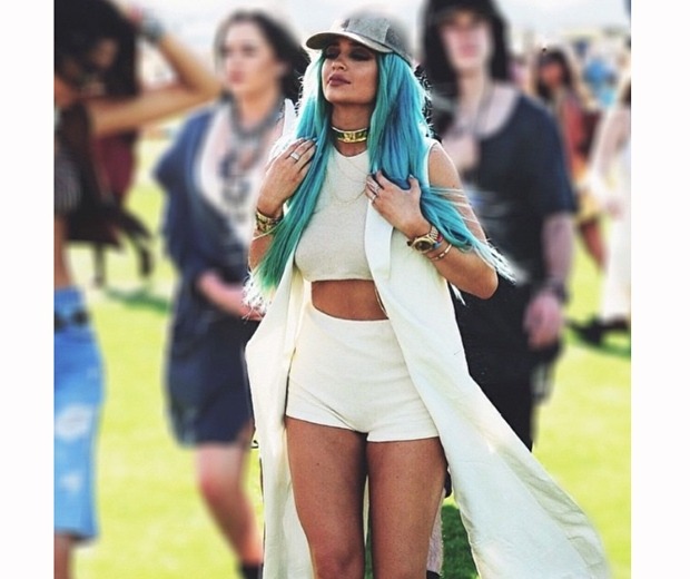 kylie jenner in white co ord and turquoise hair at coachella