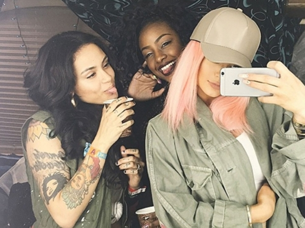 Kylie Jenner sported pink locks at the Coachella festival over the weekend