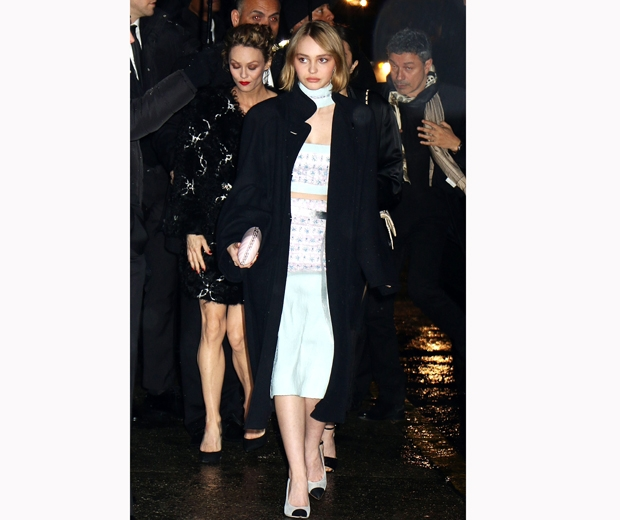 Lily Rose Depp with mum Vanessa Paradis at the Chanel Salzburg show in NY