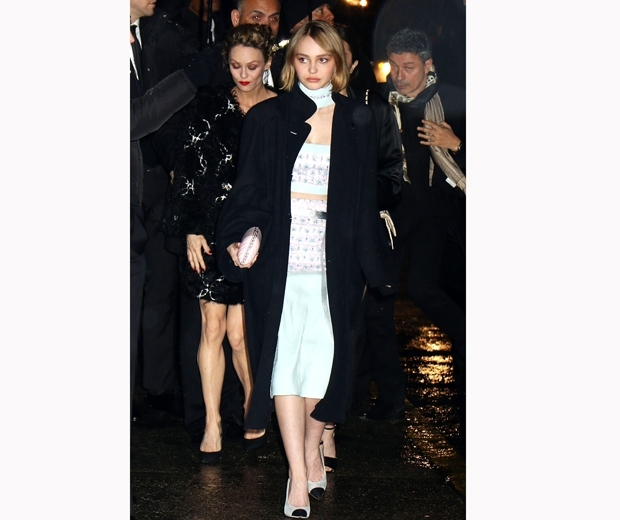 lily rose depp at the chanel salzburg show wearing chanel two piece