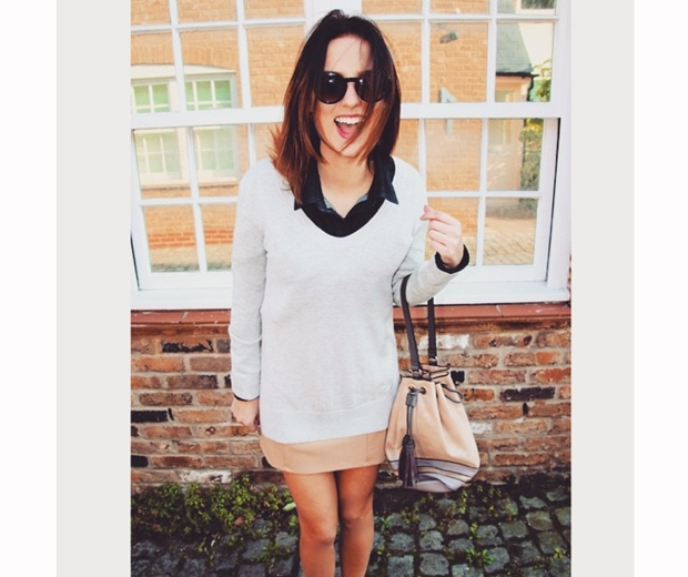 made in chelsea's lucy watson in a cream v neck jumper and beige skirt