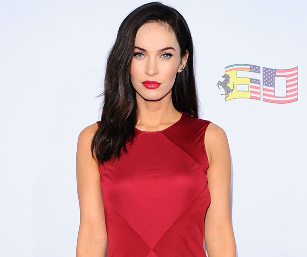 megan fox in red dress with red lipstick