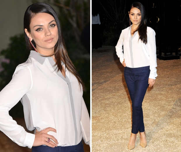 mila kunis at burberry london in los angeles show in white shirt and trousers