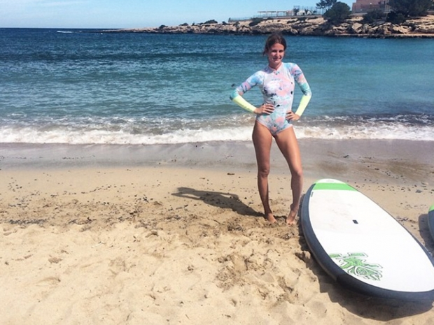 Millie Mackintosh taking part in a paddle board lesson in Instagram photo