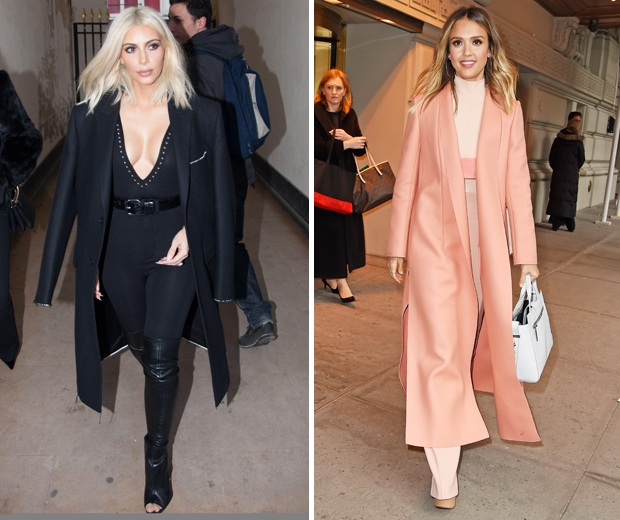 kim kardashian in black jumpsuit at fashion week, jessica alba in peach trousers